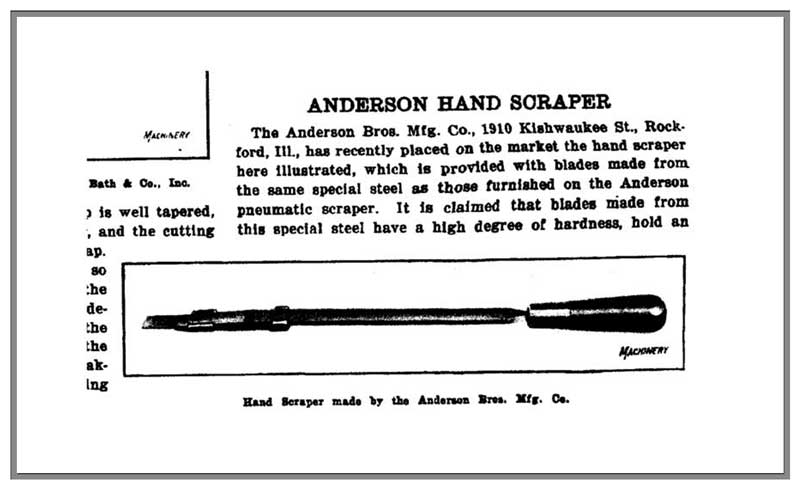 Anderson Hand Scraper featured in 1921 Machinist publication